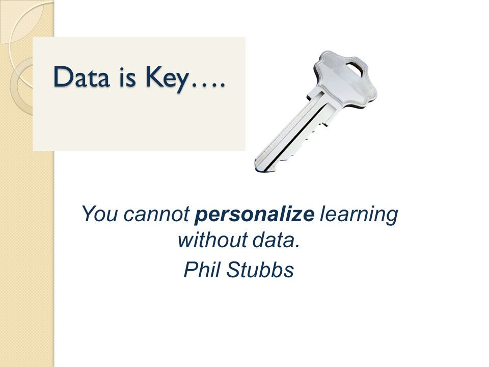 You cannot personalize learning without data. Phil Stubbs