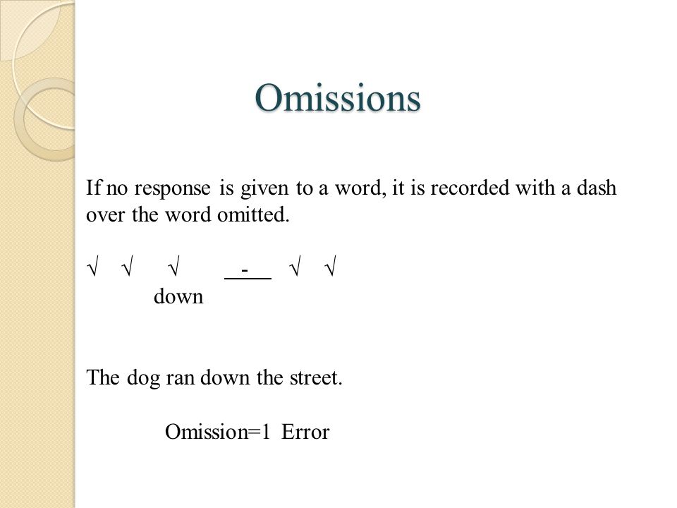 Omissions If no response is given to a word, it is recorded with a dash over the word omitted.    -  