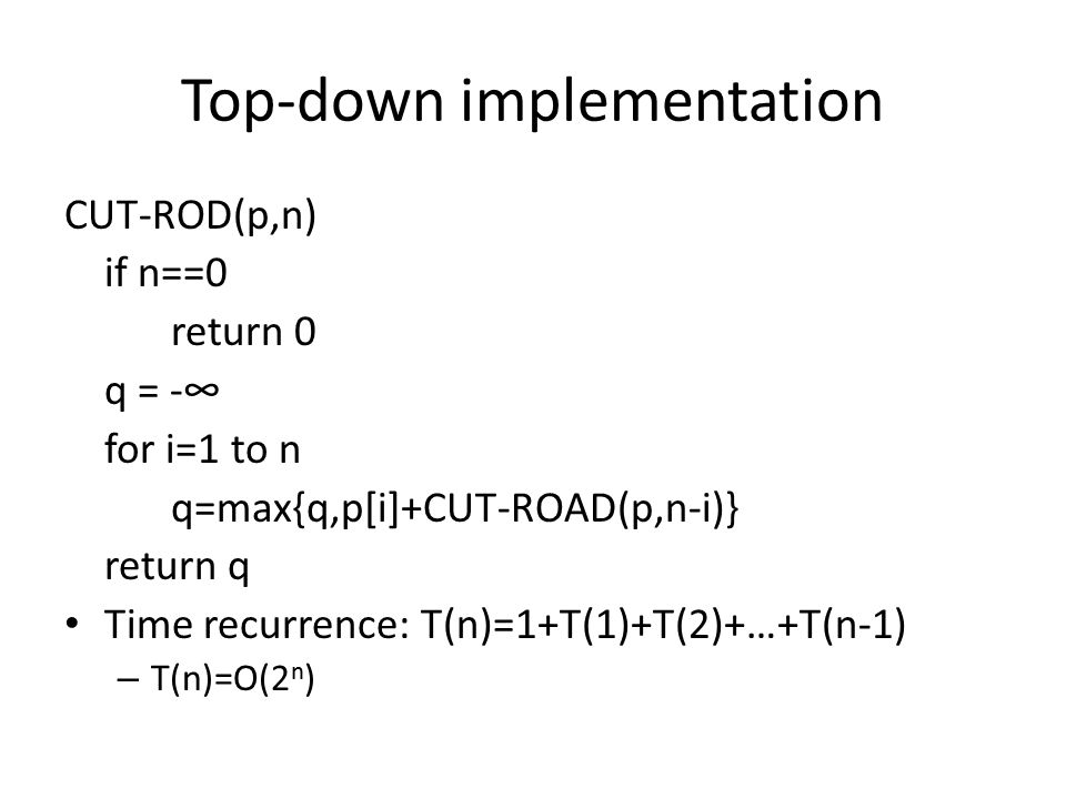 Top-down implementation