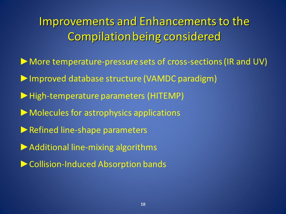 Improvements and Enhancements to the Compilation being considered