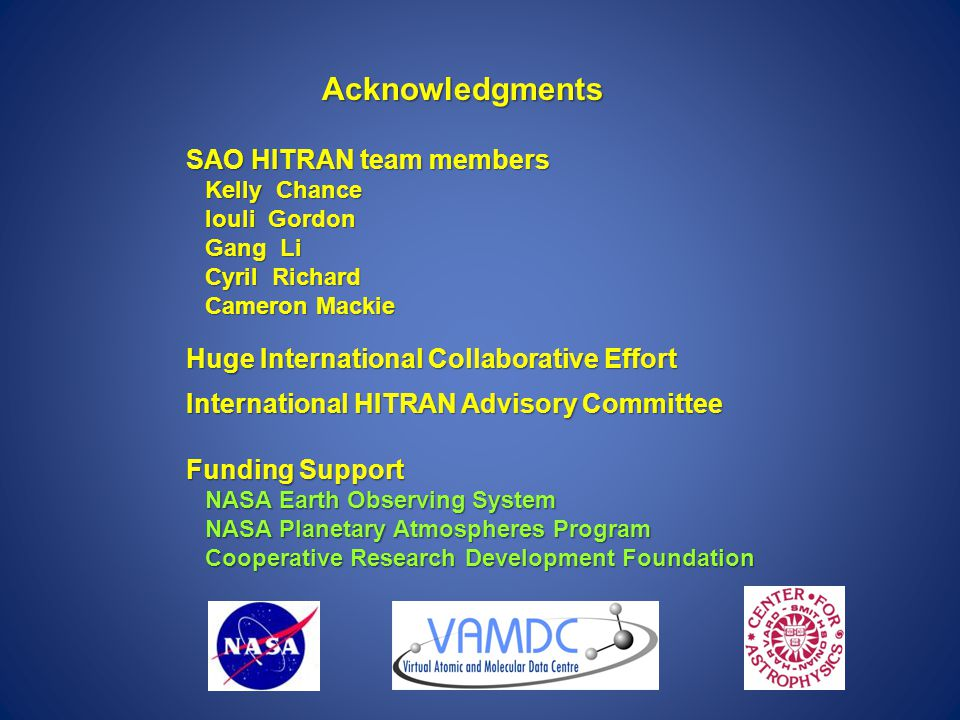 Acknowledgments SAO HITRAN team members