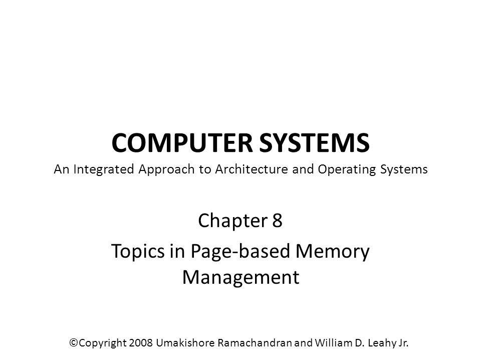 Chapter 8 Topics in Page-based Memory Management