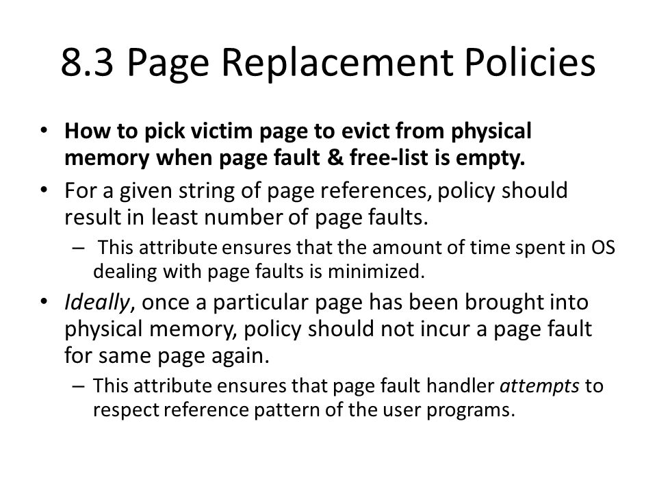 8.3 Page Replacement Policies
