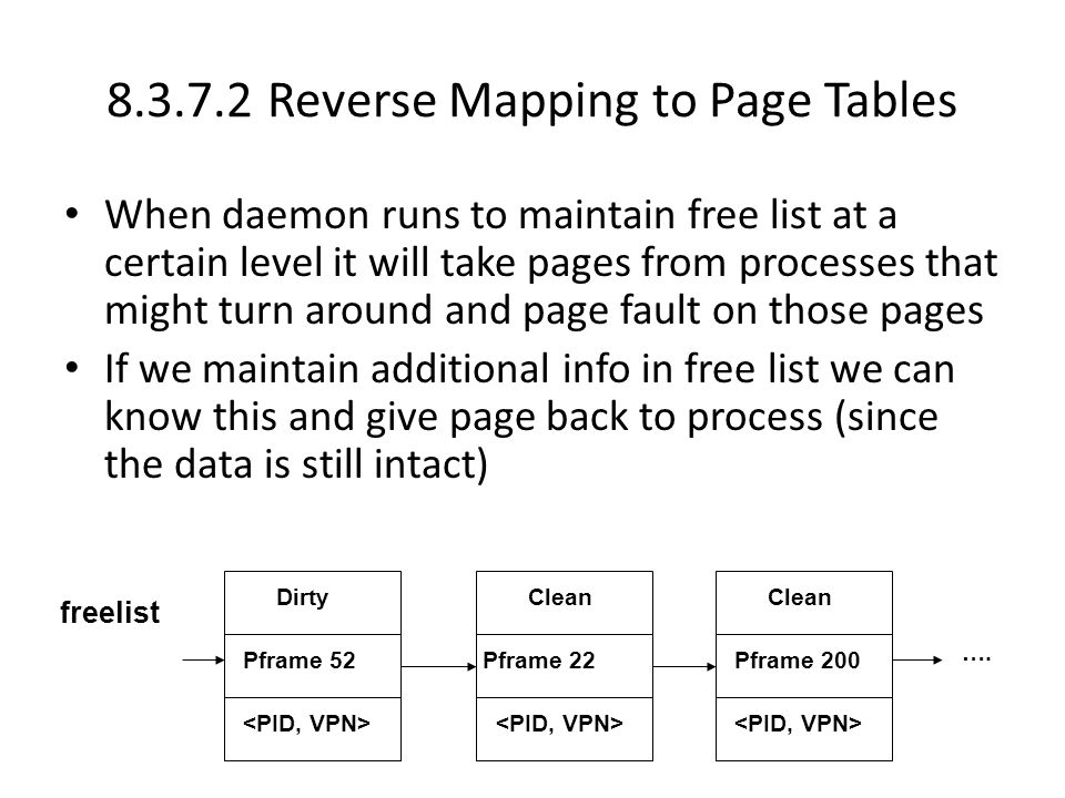 8.3.7.2 Reverse Mapping to Page Tables