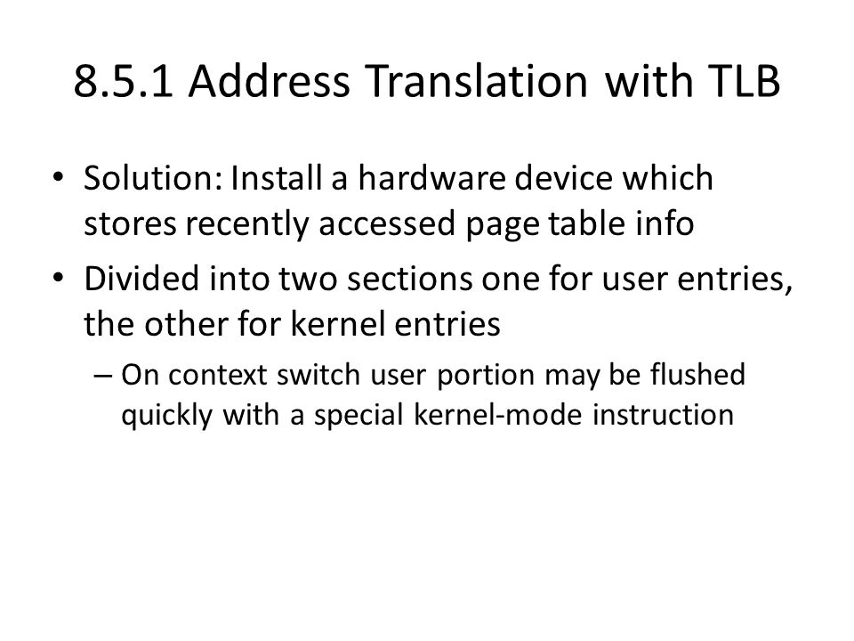 8.5.1 Address Translation with TLB