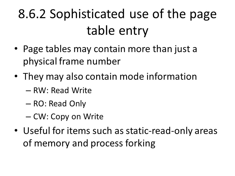 8.6.2 Sophisticated use of the page table entry