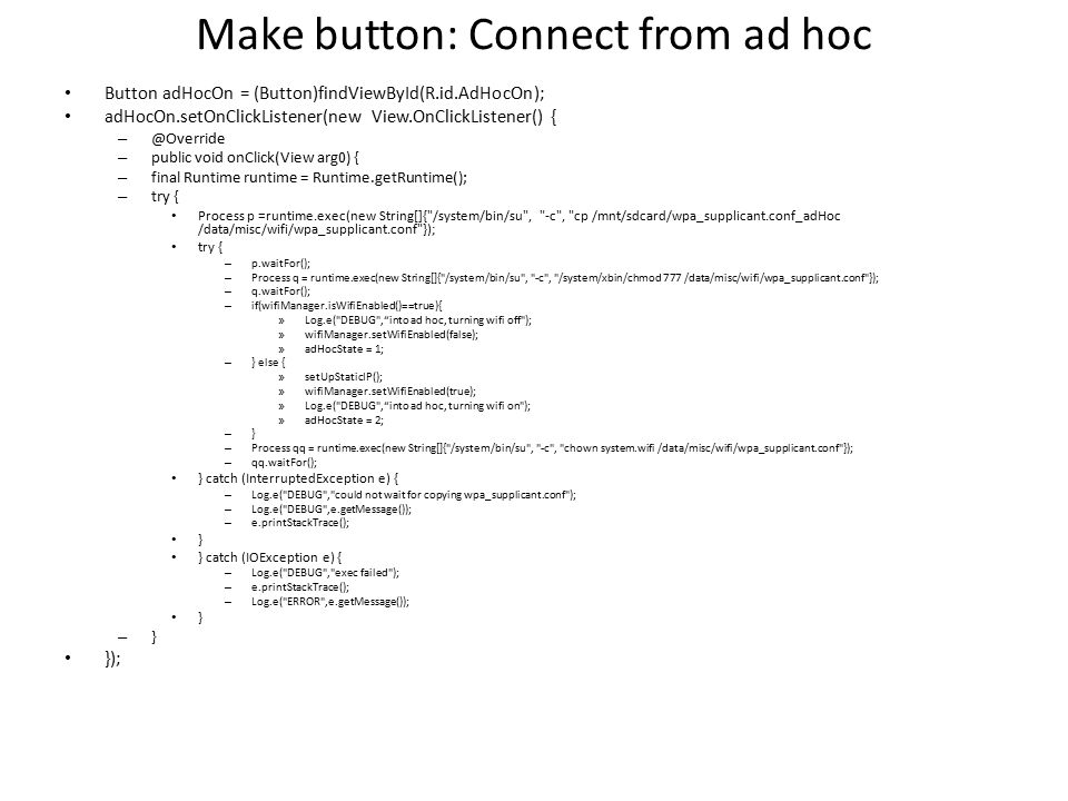 Make button: Connect from ad hoc
