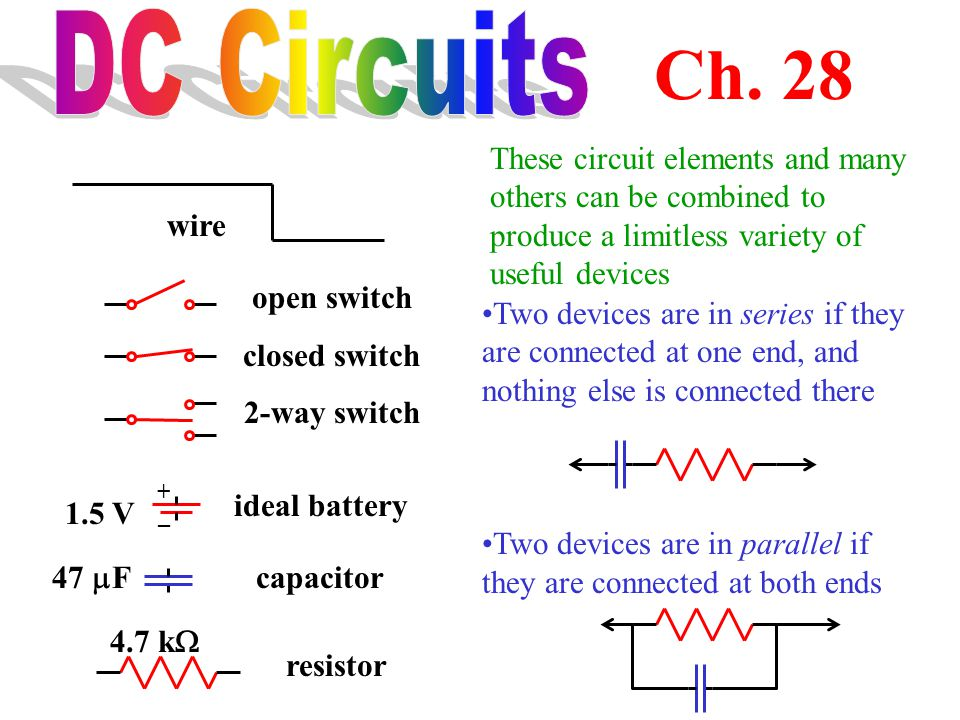 DC Circuits Ch. 28. These circuit elements and many others can be combined to produce a limitless variety of useful devices.