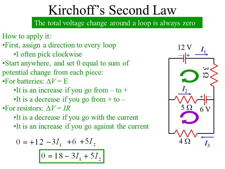 Kirchoff's Second Law The total voltage change around a loop is always zero. How to apply it: First, assign a direction to every loop.