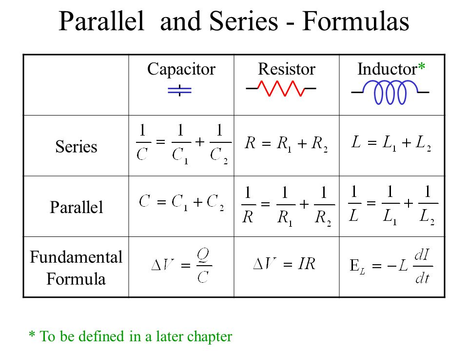 Parallel and Series - Formulas
