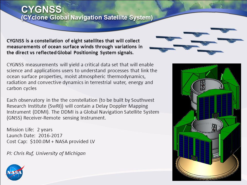 CYGNSS (CYclone Global Navigation Satellite System)