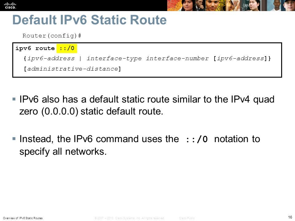 Default IPv6 Static Route