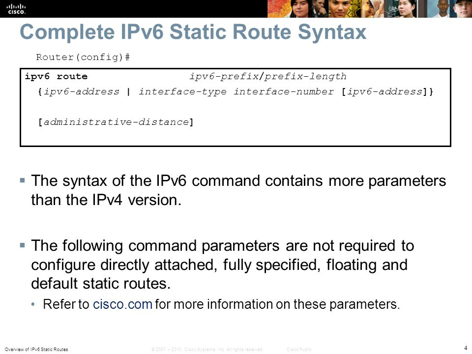 Complete IPv6 Static Route Syntax