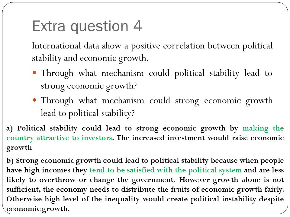 Extra question 4 International data show a positive correlation between political stability and economic growth.
