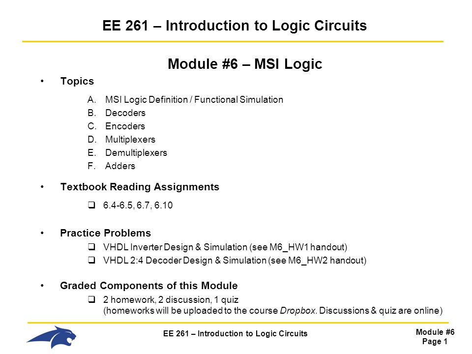 EE 261 – Introduction to Logic Circuits - ppt video online download