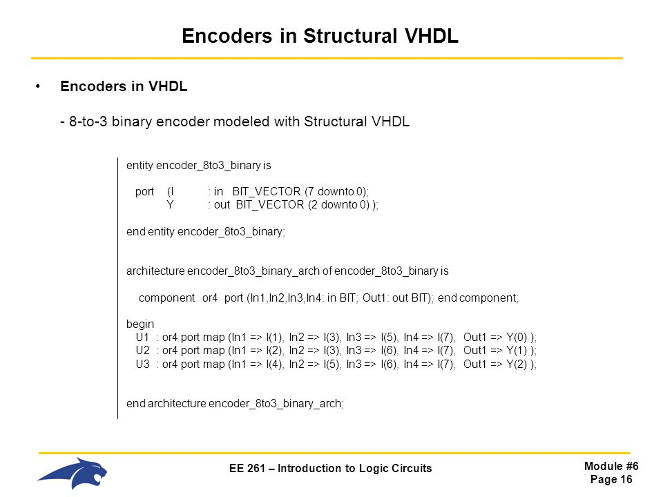 Encoders in Structural VHDL