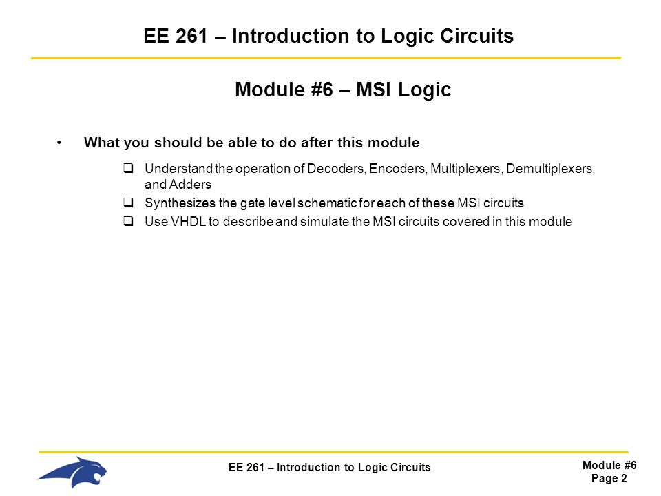 EE 261 – Introduction to Logic Circuits
