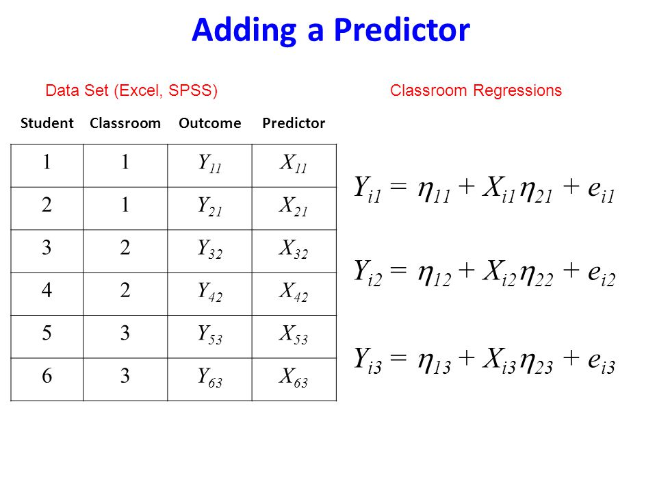 Adding a Predictor Yi1 = h11 + Xi1h21 + ei1 Yi2 = h12 + Xi2h22 + ei2