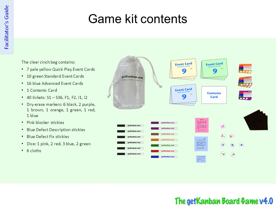 Game kit contents Facilitator's Guide The clear cinch bag contains: