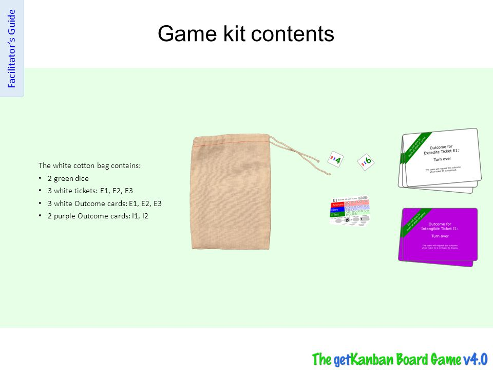 Game kit contents Facilitator's Guide The white cotton bag contains: