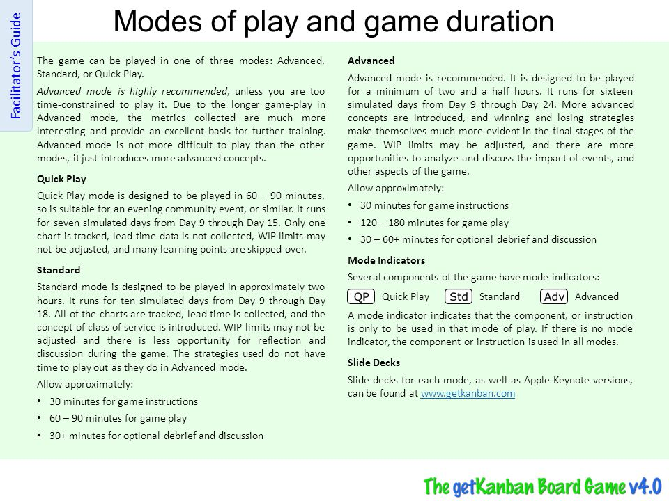 Modes of play and game duration