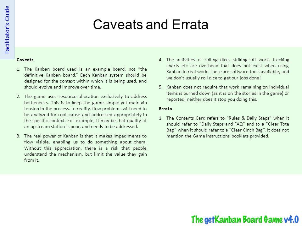 Caveats and Errata Facilitator's Guide Caveats
