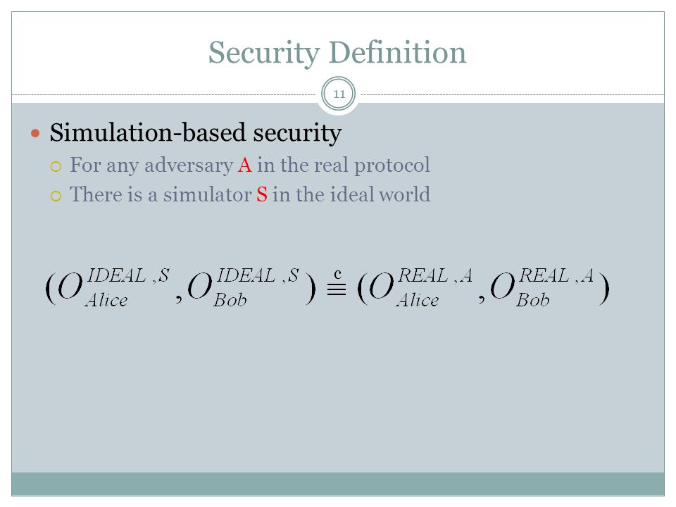 Security Definition Simulation-based security