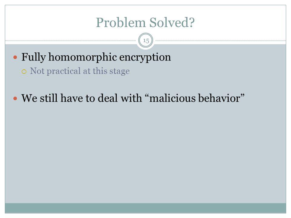 Problem Solved Fully homomorphic encryption