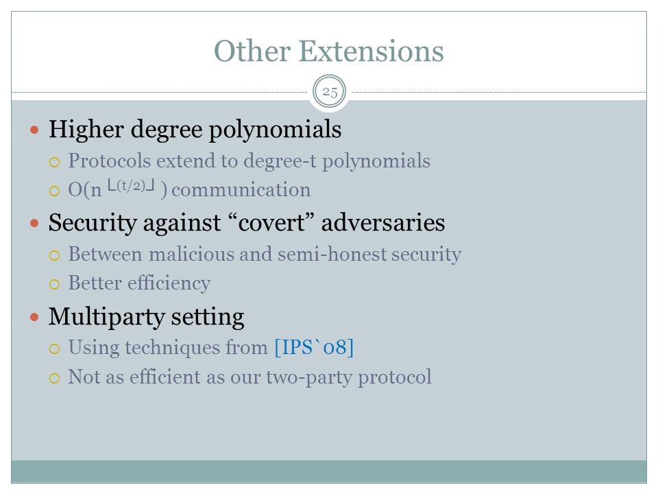 Other Extensions Higher degree polynomials