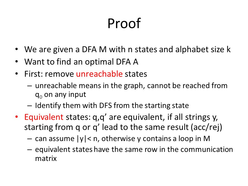Proof We are given a DFA M with n states and alphabet size k