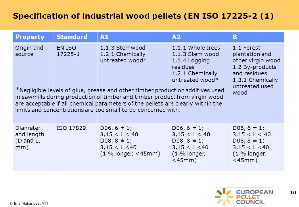 Specification of industrial wood pellets (EN ISO 17225-2 (1)