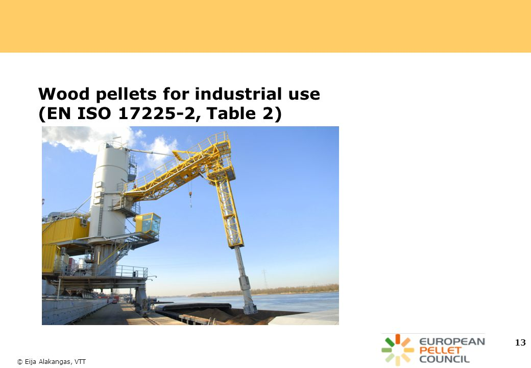 Wood pellets for industrial use (EN ISO 17225-2, Table 2)