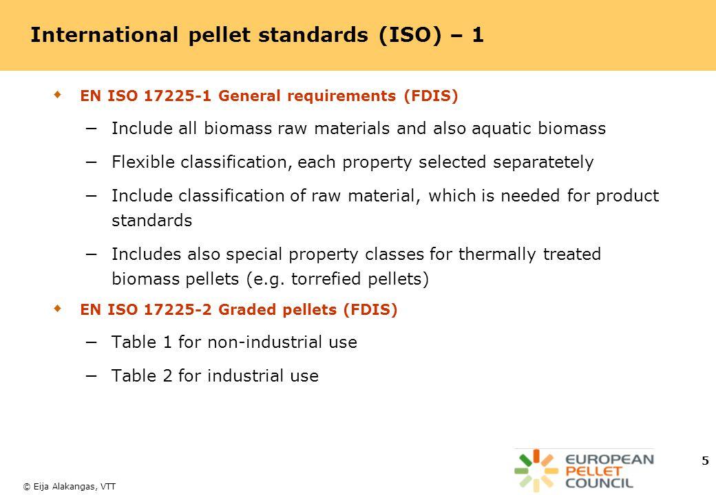 International pellet standards (ISO) – 1