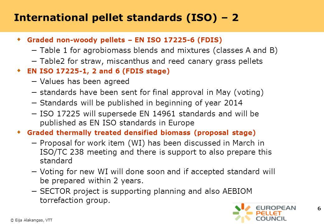 International pellet standards (ISO) – 2