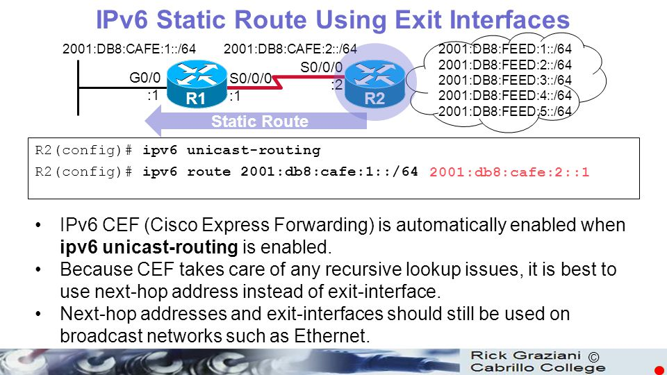IPv6 Static Route Using Exit Interfaces