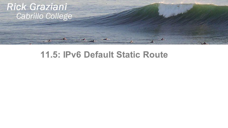 11.5: IPv6 Default Static Route