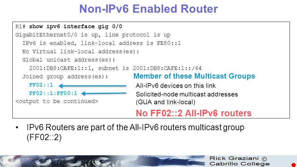 Non-IPv6 Enabled Router