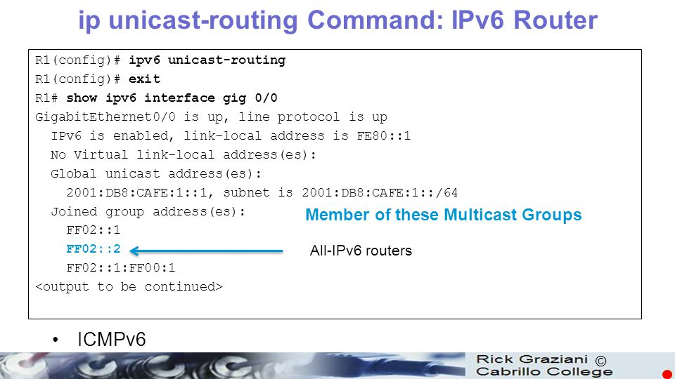 ip unicast-routing Command: IPv6 Router