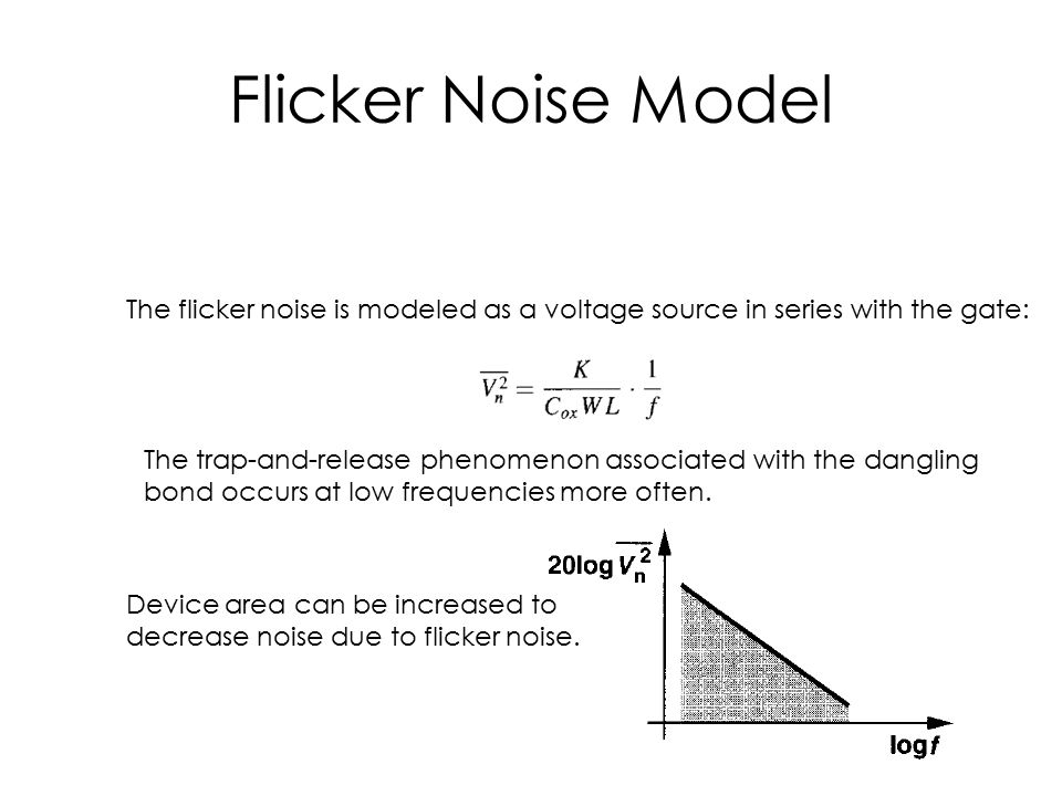 Flicker Noise Model The flicker noise is modeled as a voltage source in series with the gate: