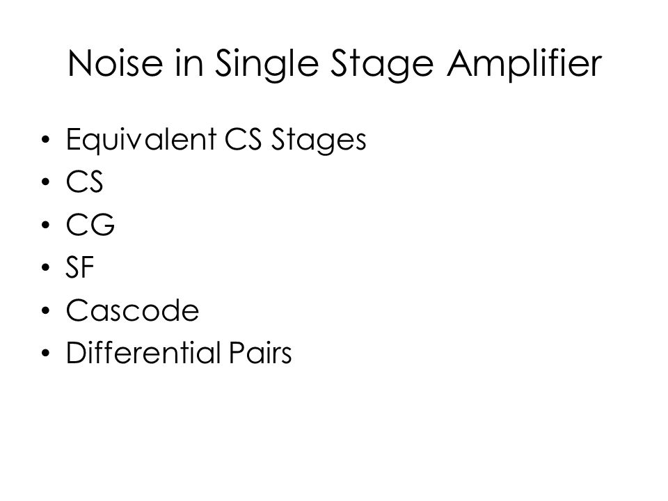 Noise in Single Stage Amplifier