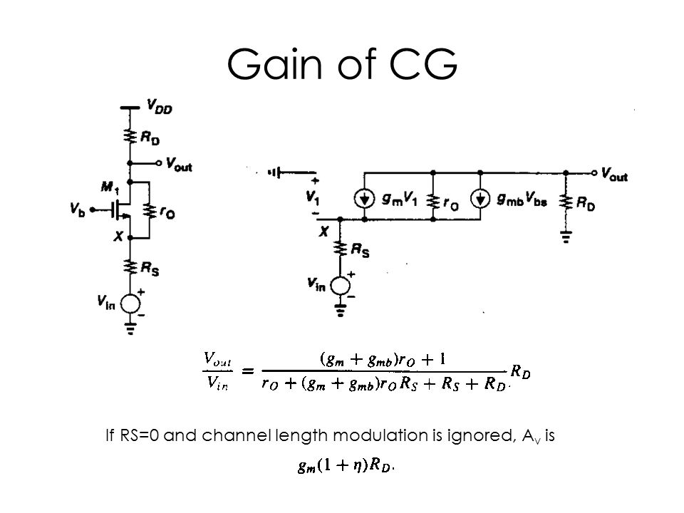 Gain of CG If RS=0 and channel length modulation is ignored, Av is