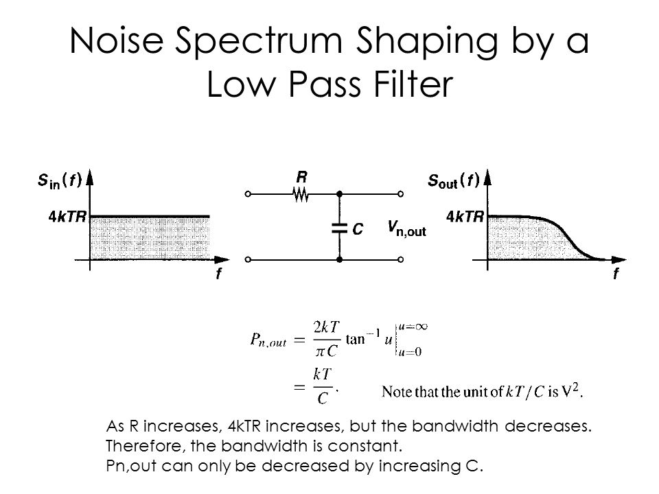 Noise Spectrum Shaping by a Low Pass Filter