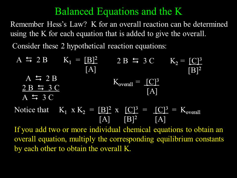 Balanced Equations and the K