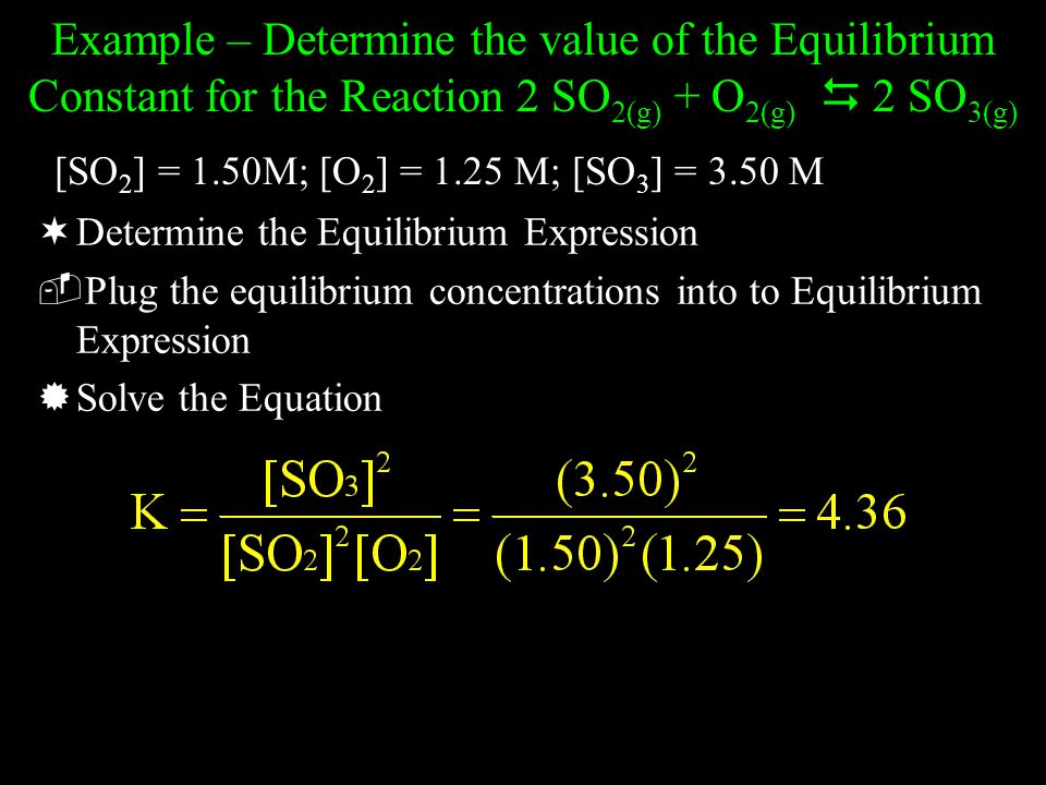 Example – Determine the value of the Equilibrium Constant for the Reaction 2 SO2(g) + O2(g)  2 SO3(g)