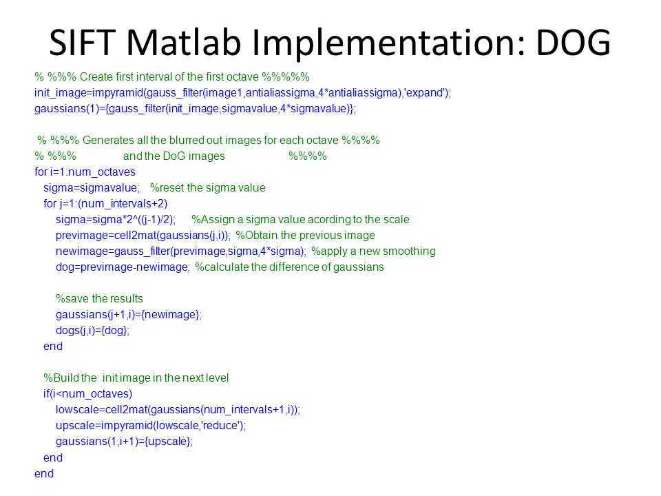 SIFT Matlab Implementation: DOG