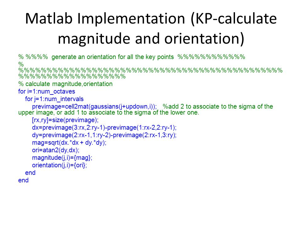 Matlab Implementation (KP-calculate magnitude and orientation)