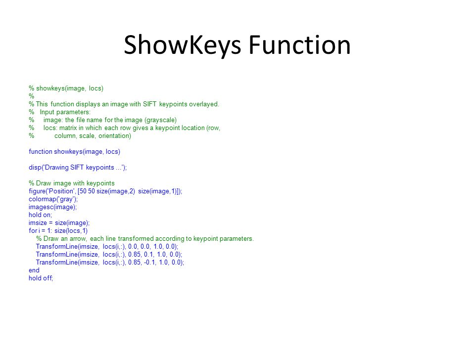ShowKeys Function