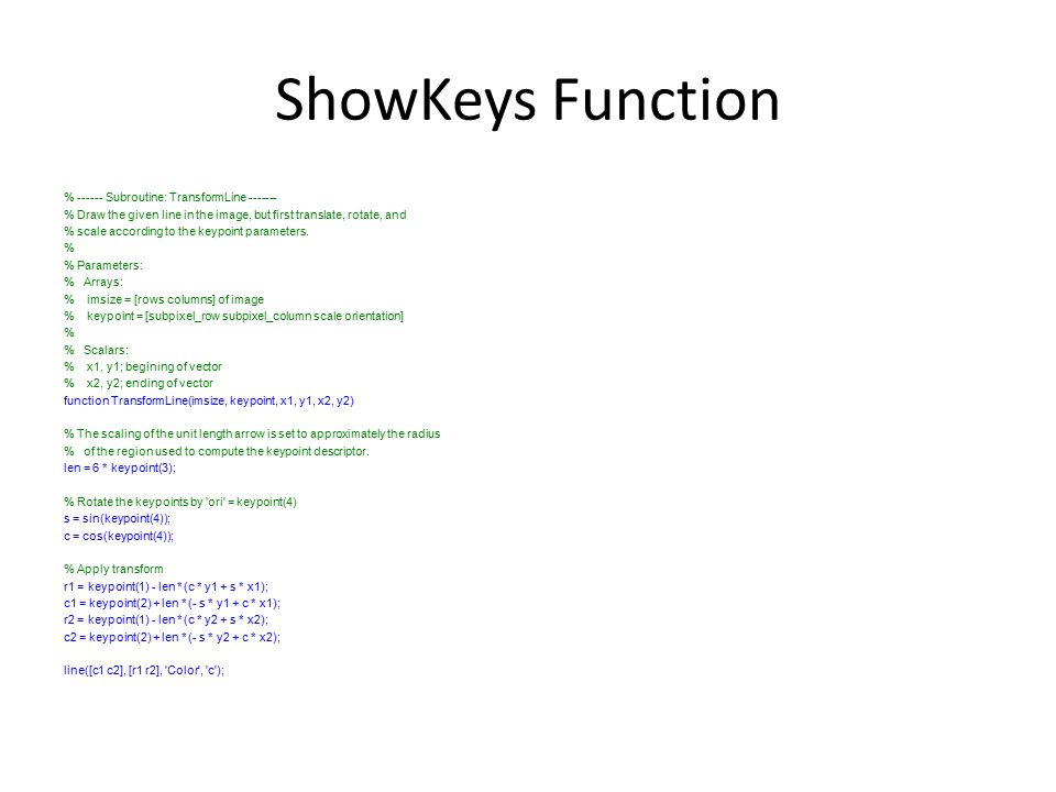 ShowKeys Function % ------ Subroutine: TransformLine -------