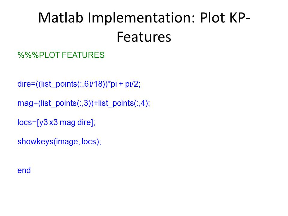 Matlab Implementation: Plot KP- Features