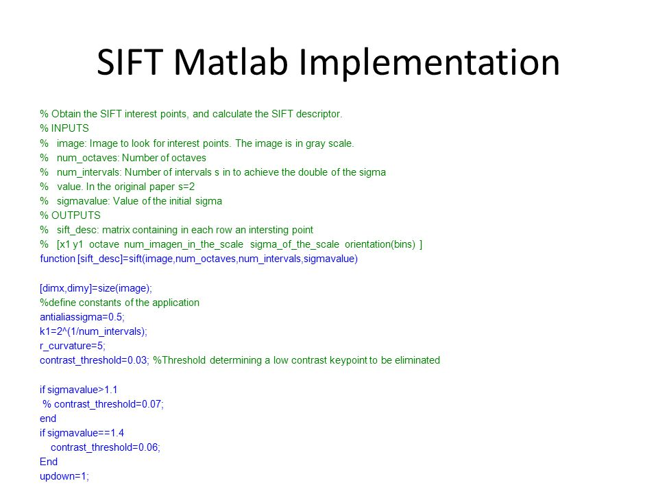 SIFT Matlab Implementation